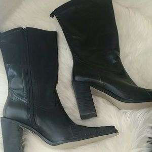 NEW~ NINE WEST LEATHER BLACK MID RISE BOOTS